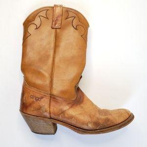 Vtg Dingo Tan Hide Point Toe Cowboy Boots S27